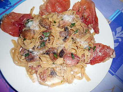 Spaghetti funghi e prosciutto crudo (champignons jambon cru) 430