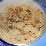 recette COZZE CREME  E  SPAGHETTI (moules crème et spaghetti)