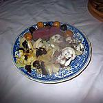 recette assiette avec rosbeef,,, pomme  de terre idée d italmo;;cerises au vinaigre, mirabelles en saumure de rephael