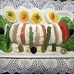 recette Plat de mozzarella. tomates. asperges.oeufs. foie gras.
