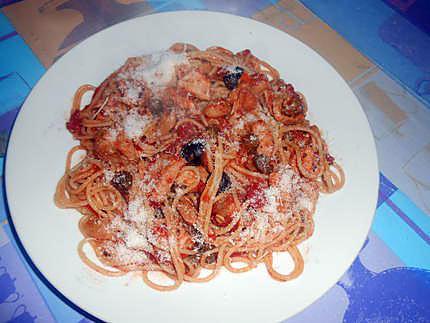 Spaghetti au reste de sauce porc alla pizzaiola 430