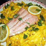 recette Filet de saumon tagliatelles au safran