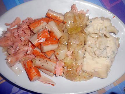 Quiche poireau saumon surimi et gorgonzola 430