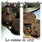 recette Muffins au chocolat noisettes  et cacahuètes sucrées