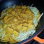recette Nouilles chinoise et poulet sauce cury et coco