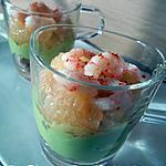 recette Verrine crème d'avocat, pamplemousse & crevette