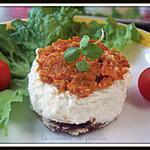 recette mousse de fromage de chèvre a la purée de tomates sur pain d'épices