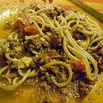 recette Spaguettis bolognaises revisitée aux 5 fromages