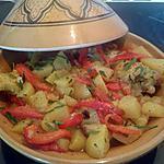 recette tajines de poulet aux pommes de terre, semoule épicée