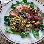 recette escalope  ,,pommes deterre lardons  et riz épicé  au chou fleur de chemin de gourmandise