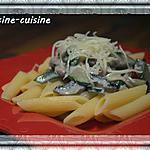 recette Penne au champignons, courgettes, jambon