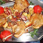 Confit de canard,pommes de terre nouvelles au lard
