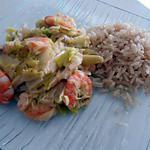 recette Fondue de poireaux aux crevettes et kiri