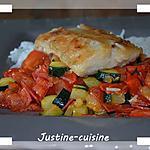 recette Filet de cabillaud et sa poélée de légumes au chorizo