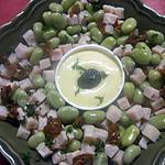 recette Salade de fèves et dés de jambon.