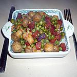 recette Poêlée chorizo/petits pois/champignons