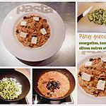recette Pâtes grecques aux courgettes, tomates, olives noires et feta
