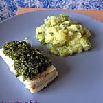 recette Poisson au pesto de pistaches et purée de courgettes