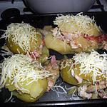 recette Pommes de terre farcies au Poulet champignons lardons (recette revisitée du poulet d'Italmo)