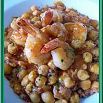 recette Crevettes piquantes aux pois chiches
