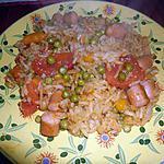 recette Knackies et riz poelé aux petits pois carottes