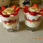 recette Verrine fraises banane sur fromage blanc