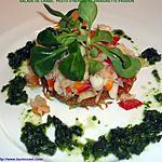 recette SALADE DE CRABE, PESTO D'HERBES ET VINAIGRETTE PASSION