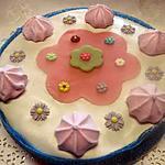 recette Gâteau compote de rhubarbe.fleuri.sans cuisson.