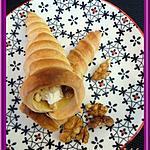 recette Cornets à la mousse de chèvre, miel et noix.