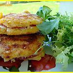 recette Galettes de polenta au salami et tartare aux noix