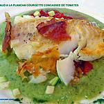 recette CABILLAUD A LA PLANCHA COURGETTE CONCASSEE DE TOMATES