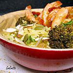 recette Gambas au curry de mélasse de grenade, avoines safranées aux raisins secs