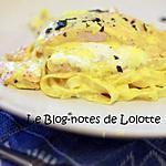 recette Saumon au chèvre frais, tagliatelles fraîches et sauce safranée