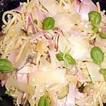 recette Linguine sauce cremeuse champignons,jambon,courgette