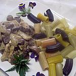 recette Emincés de poulet et pâtes Maccheroni al cingue.