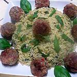recette Boulgour aux aromates et boulettes de viande.