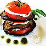 recette Mille-feuille de Tomate,Aubergines Grillées , Mozzarella et sa Sauce Pesto