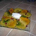 recette CARPACCIO DE FRUITS EXOTIQUES ET SORBET COCO
