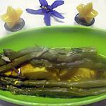 recette Pavés de cabillaud. asperges. feuilles de Myrte.