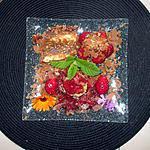 recette assiette dessert   fraises, compote fraises rhubarbe,,;;gateau mamyloula   croquant et fondant