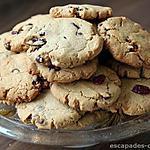 recette Biscuits à la farine de châtaigne pépites de chocolat et cranberries
