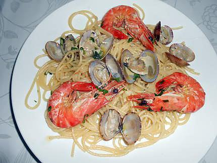 Spaghettade vongole e gambas 430