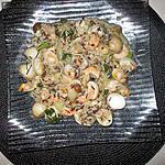 recette risotto   aux  trois  riz   et fruits  de mer   ,,a ma façon