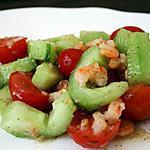 recette Salade Comcombre, tomate, crevette