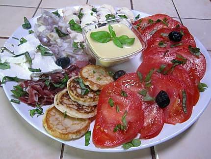 Salade de légumes. ricotta.basilic. vinaigrette.+ photos. 430