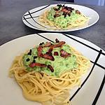 recette Spaghetti sauce aux petits pois et lardons