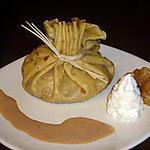 recette Aumônières de pommes confites et son coulis de spéculoos