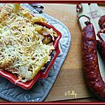 recette Grâtin de pâtes au chorizo et au curry