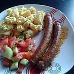 recette pomme de terre froide,salade de tomate et concombre, merguez