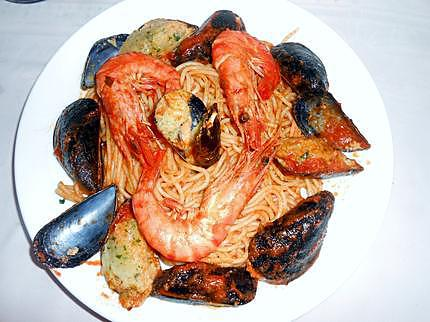 Spaghetti Duo moules farcies et gambas  430